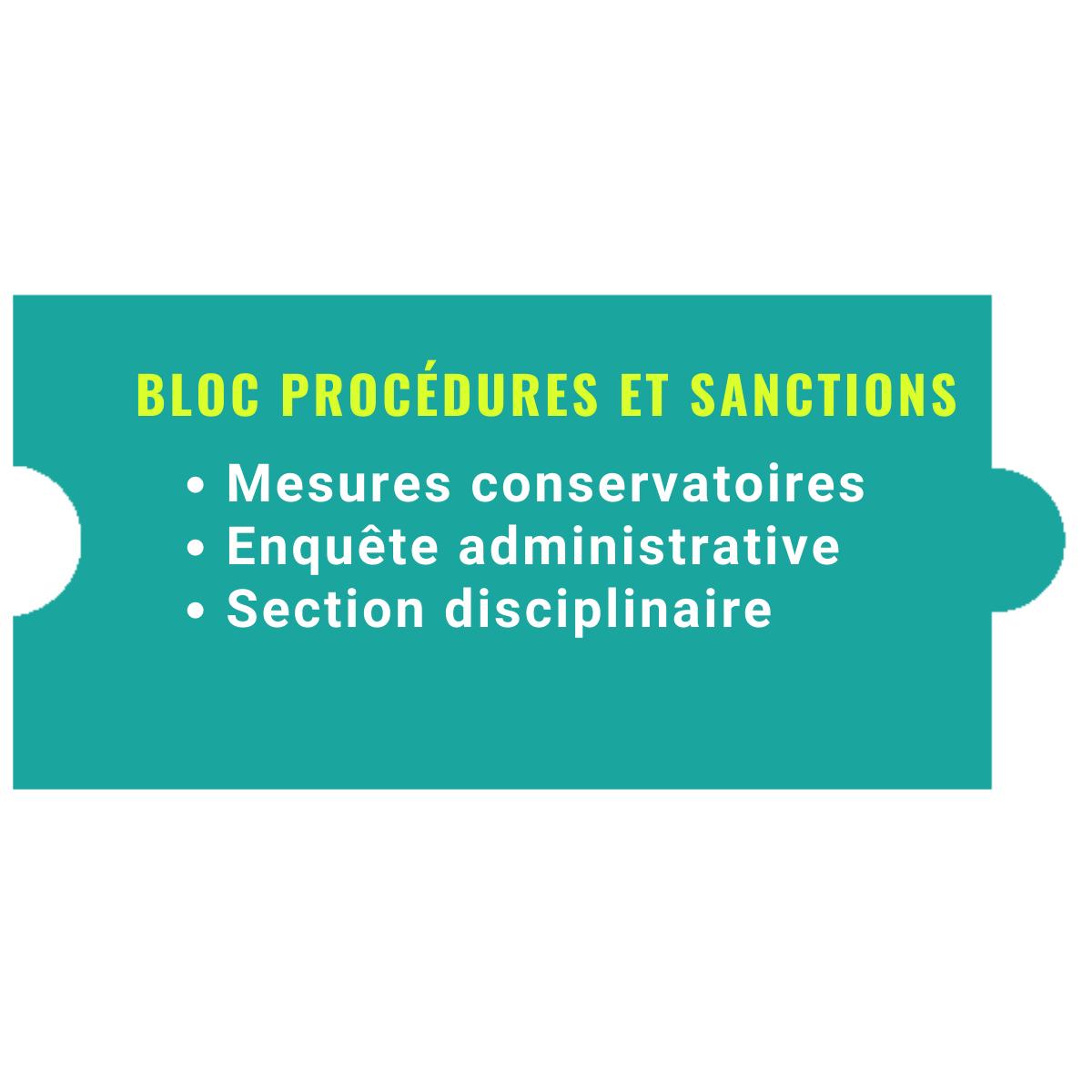 Bloc PROCÉDURES et SANCTIONS